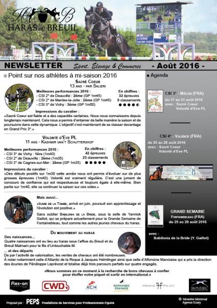 Haras du Breuil - Newsletter Août 2016